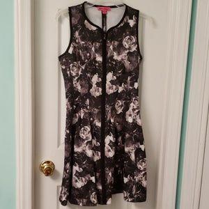 Betsey Johnson Grayscale Floral Scuba Knit Dress
